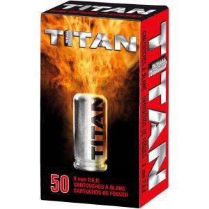 Cartouches a blanc cal. 9mm PAK Pistolet x 50 Titan forte détonation