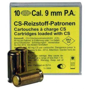 Cartouches au gaz CS irritant cal. 9mm PAK Pistolet x 10 Wadie