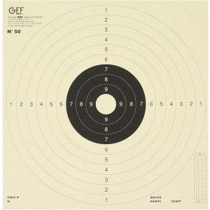 Cible pistolet C50 mouche blanche carton pour pistolet 25/50 mètres