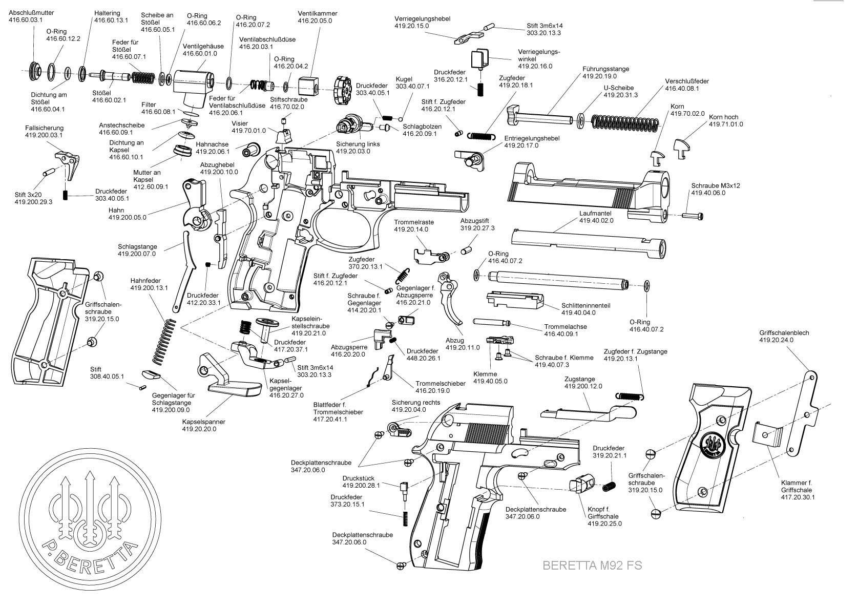pistolet beretta 92fs noir